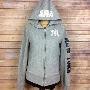 Pink Victorias Secret Gray New York Yankees Hoodie